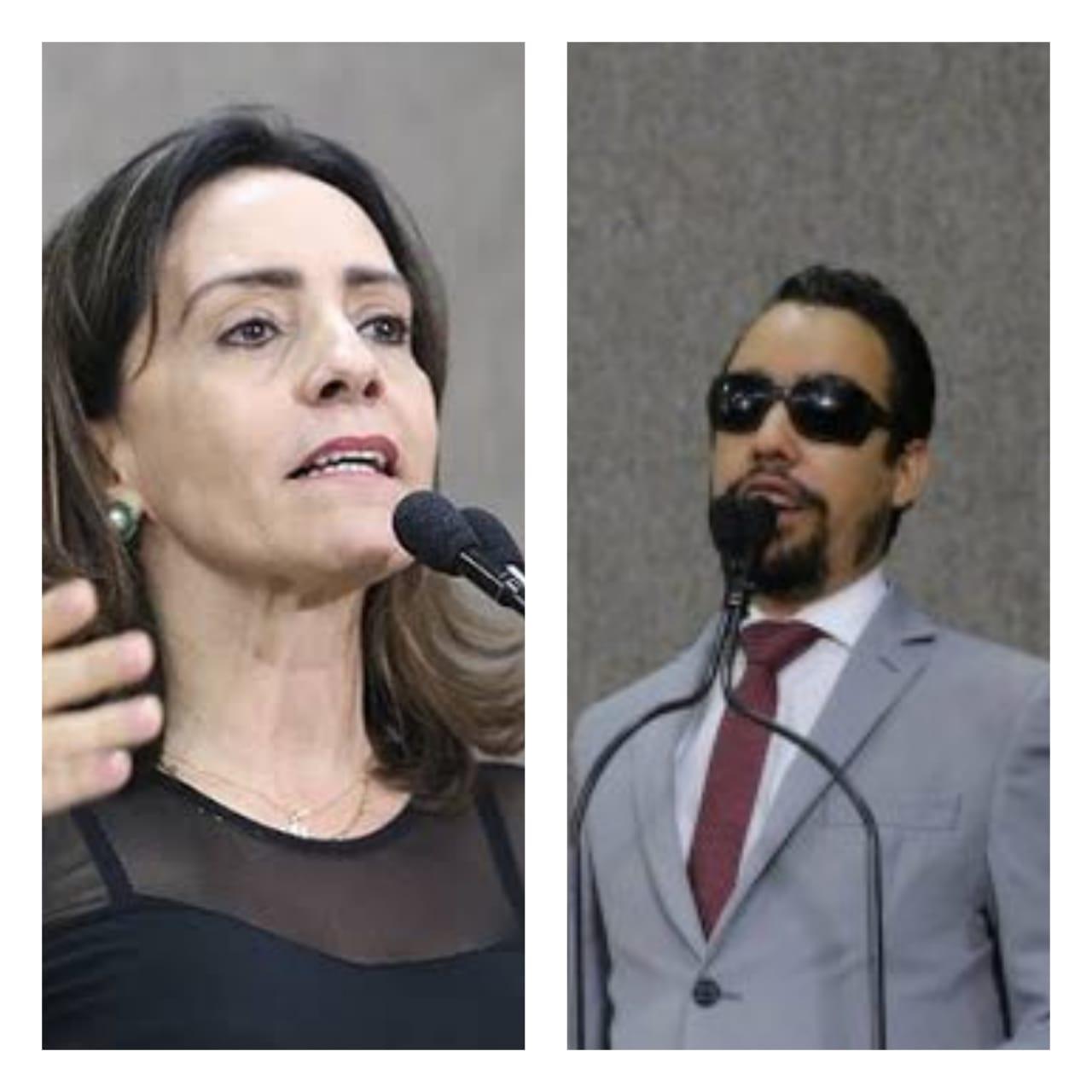 #PraTodoMundoVer: A imagem mostra duas fotos sendo uma da vereadora Emília Corrêa e a outra do vereador Lucas Aribé ambos na tribuna da Câmara