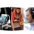 A imagem mostra um celular, uma moça utilizando o celular, um rapaz com fone no ouvido e uma moça com o celular