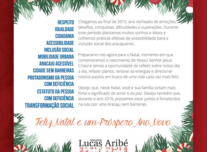 Lucas Aribé Mensagem Natalina Feliz Natal E Próspero Ano