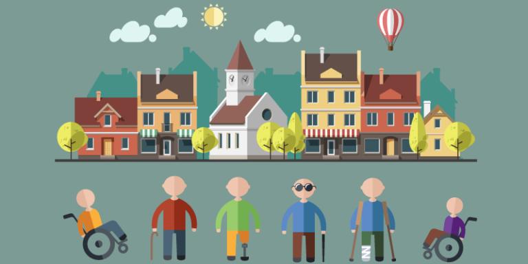 A imagem mostra em forma de animação pessoas com deficiência e ao fundo casas e prédios