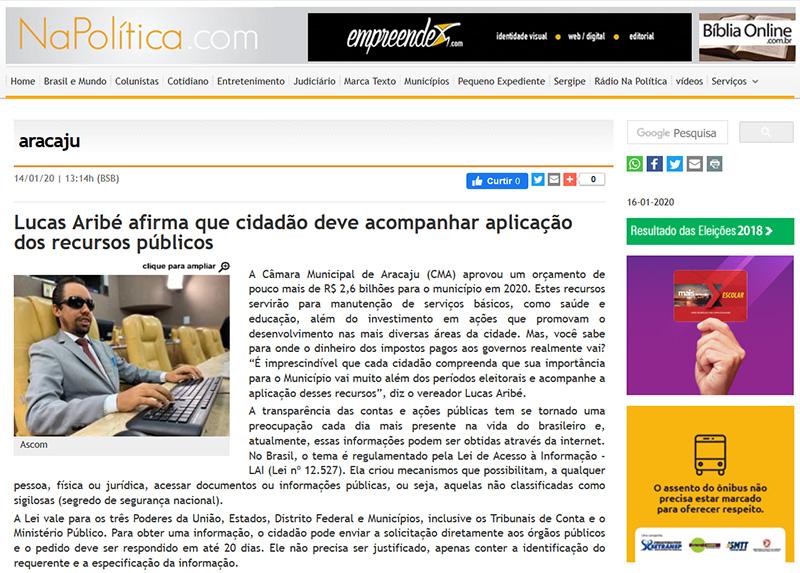 #PraTodoMundoVer Imagem de página do site Napolitica.com onde aparece a publicação da matéria